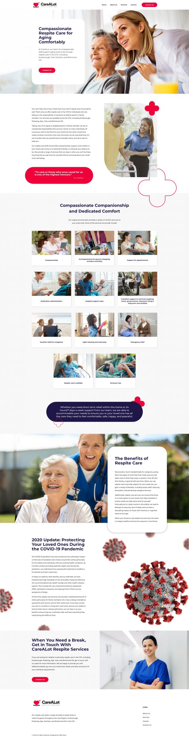toronto respite services and care web design